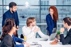 Boss leader coaching in office. On job training. Business and Education concept Royalty Free Stock Image