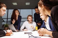 Boss leader coaching in office. On job training. Business and Education concept stock image