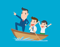 Boss leads employees, Businessman rowing team, Teamwork and Leadership concept Royalty Free Stock Images