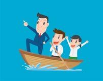 Boss lleva el equipo de los empleados, del rowing del hombre de negocios, el concepto del trabajo en equipo y de la dirección Imágenes de archivo libres de regalías