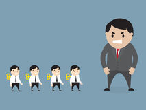 Boss loking at employees stock illustration