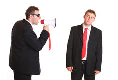 Boss with loudspeaker Royalty Free Stock Images