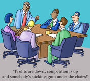 The boss is made about profits and gum. Profits are down, competition is up and somebody's sticking gum under the chairs royalty free illustration