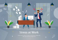 Boss Man Character Screaming on Stressed Worker. stock illustration
