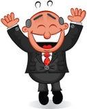 Boss Man Happy. Cartoon boss man happy and jumping Stock Photos