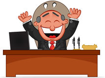 Boss Man Happy. Cartoon boss man happy and laughing Royalty Free Stock Image