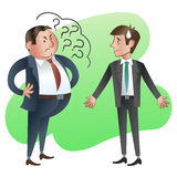 Boss or manager asks a subordinate employee. Vector illustration Stock Image