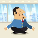 Boss meditation scene. Business life boss meditating smiling legs crossed  in the lotus position scene concept vector illustration Royalty Free Stock Photography