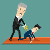 Boss motivates his subordinate. Business concept cartoon illustration. Stock Photo