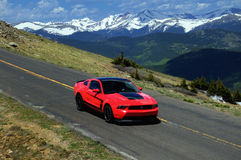 2012 Boss Mustang, Mt. Evans, Colorado. 2012 Boss Mustang, Mt. Evans Road; The Drive Rocky Mountain Automotive Press.  Powered by a 5.0 Liter V8 producing 444 Stock Photo