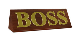 Boss nameplate. One 3d render of a nameplate with the word boss royalty free illustration