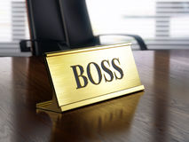 Boss nameplate on wooden table Royalty Free Stock Image