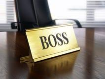 Boss nameplate on wooden table vector illustration