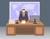 Boss in office. Business character. Working man on world map background. Workplace. Office life. Flat design vector illustration. Boss in office Stock Images