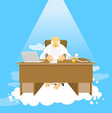 Boss of paradise. God job. Almighty of work place in heaven. Gra Stock Image
