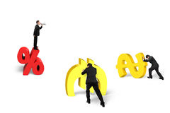 Boss on percentage symbol shouting at employee for working. Leader on top of percentage 3D symbol shouting at team members for pushing gold money isolated in Stock Image