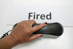 Boss phone to file employee. Boss fire employee by phone Royalty Free Stock Photo