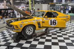 Boss 302. Picture of ford mustang boss 302 race car in display during the salon de l`auto sport de quebec, april 7-8-9 2017 royalty free stock image
