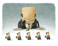 Boss playing with employees Royalty Free Stock Images