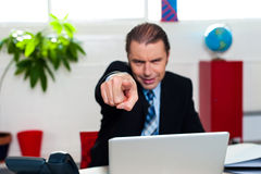 Boss pointing his index finger at you Stock Images