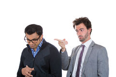 Boss pointing for worker to leave office, fired Stock Photography