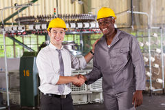 Boss praising worker. Boss handshaking and praising hardworking worker in factory Stock Images