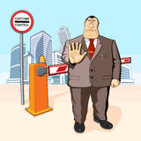 Boss prohibits. Barrier. Buildings. Boss or businessman prevents or prohibits. Tall buildings Stock Photos