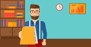 Boss receiving file from employee. A boss receiving a file from his employee on the background of office vector flat design illustration. Horizontal layout Royalty Free Stock Image