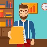 Boss receiving file from employee. A boss receiving a file from his employee on the background of office vector flat design illustration. Square layout Royalty Free Stock Images