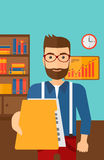 Boss receiving file from employee. A boss receiving a file from his employee on the background of office vector flat design illustration. Vertical layout Stock Photography