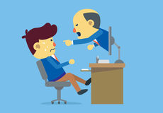 Boss reprimanding subordinate with online communication Royalty Free Stock Image