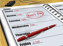 Boss's Day. Digital illustration of a reminder of Boss's Day in a daily planner Stock Photography