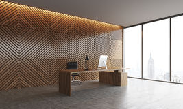 Boss's workspace. Workplace of company's head with desktop and concrete floor. Wooden walls, panoramic window with New York city view. Concept of top management Stock Images
