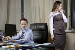 Boss scolded Secretary Royalty Free Stock Photos