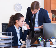 Boss scolding employee for mistakes Stock Photography