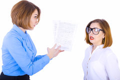 The boss scolding her assistant Royalty Free Stock Image