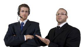 Boss scolding his employee Stock Images