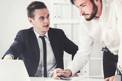 Boss is scolding his subbordinate Stock Images