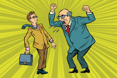 Boss scolds businessman. Conflicts at work. Pop art retro vector illustration Stock Photography