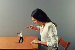 Boss screaming at frightened businessman. Woman boss screaming at frightened businessman Stock Photos
