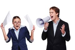 Boss screaming with megaphone at his assistant Stock Photography