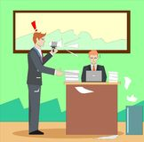 Boss screaming and yelling at businessman through megaphone. stock illustration