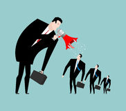 Boss screams megaphone to manager. To give orders. Businessman s Stock Image