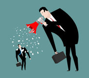 Boss screams megaphone to manager. To give orders. Businessman s Royalty Free Stock Images