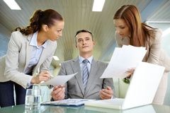 Boss and secretaries Royalty Free Stock Image