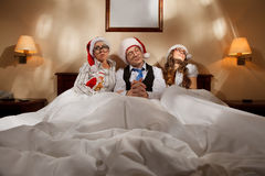 Boss with secretaris on New Year's night Royalty Free Stock Photography