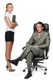 Boss and secretary. Boss and the secretary on workplace at office on a white background Stock Images