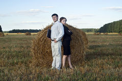 Boss and secretary. Teamwork at the nature. two person and laptop Royalty Free Stock Photo