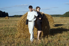 Boss and secretary. Teamwork at the nature. two person and laptop Royalty Free Stock Photos