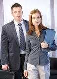 Boss and secretary going to meeting Royalty Free Stock Photo